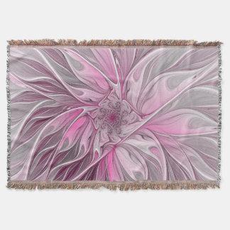 Fractal Pink Flower Dream, Floral Fantasy Pattern Throw Blanket