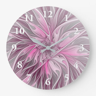 Fractal Pink Flower Dream, floral Fantasy Pattern Wall Clock