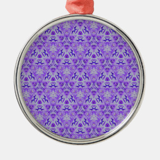 Fractal Purple lovers Seamless personal background Silver-Colored Round Ornament