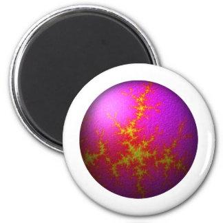 Fractal Purple Pink Globe 2 Inch Round Magnet