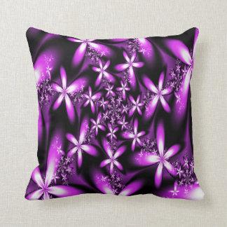 Fractal Purplish Pink Flowers Throw Pillow