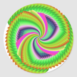 Fractal, Random, pretty, colourful, fuzzy windmill Classic Round Sticker