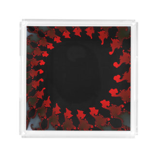 Fractal Red Black White Acrylic Tray