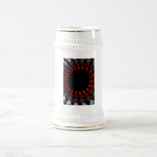 Fractal Red Black White Beer Stein