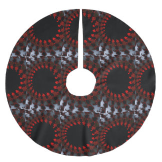 Fractal Red Black White Brushed Polyester Tree Skirt