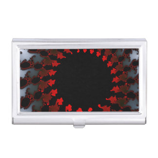 Fractal Red Black White Business Card Holder