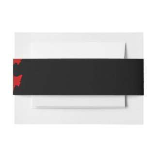 Fractal Red Black White Invitation Belly Band