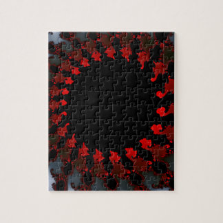Fractal Red Black White Jigsaw Puzzle