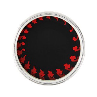 Fractal Red Black White Lapel Pin