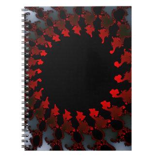 Fractal Red Black White Notebook