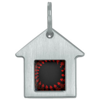 Fractal Red Black White Pet Tag