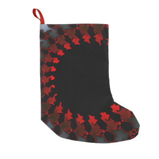 Fractal Red Black White Small Christmas Stocking