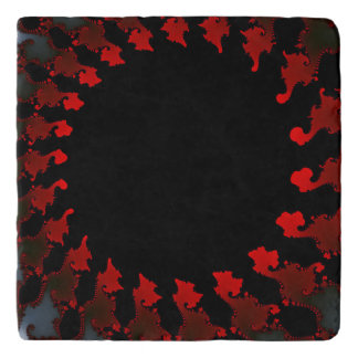 Fractal Red Black White Trivet