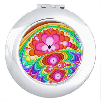 Fractal Retro Groovy Trip Mirror For Makeup