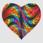Fractal Silk Rainbow Heart Sticker