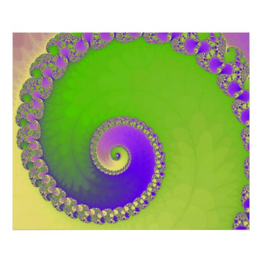Fractal snail, green and purple posters