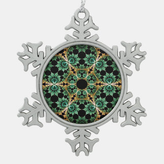 Fractal Snowflake Pewter Christmas Ornament