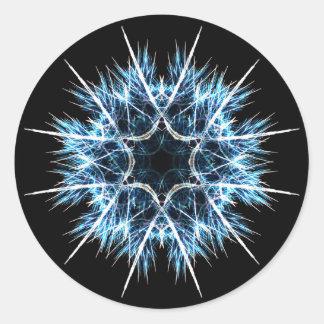 Fractal snowflake round sticker