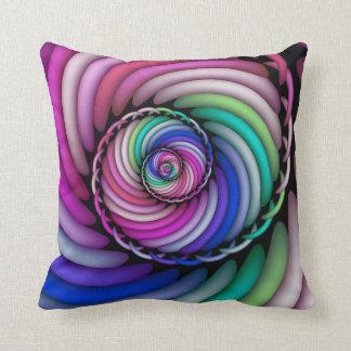 Fractal Spiral Candy Shop Throw Pillow