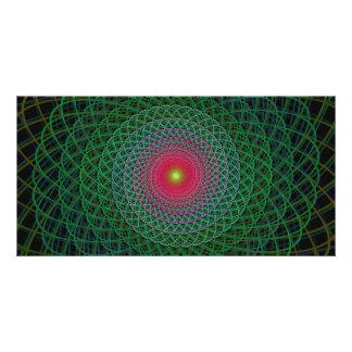 Fractal spiral customized photo card