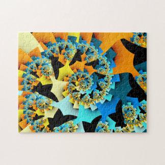 Fractal Spiral Orange Blue Puzzles