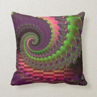 Fractal spiral throw pillow