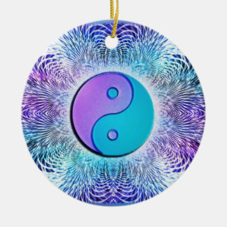 Fractal Sun Yin-Yang in Cool Pastels Ceramic Ornament