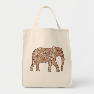 Fractal Swirl Elephant, Brown and Taupe Tote Bag