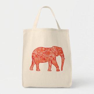 Fractal swirl elephant, coral orange and white tote bag
