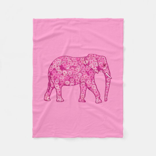 Fractal swirl elephant, fuchsia and pink fleece blanket