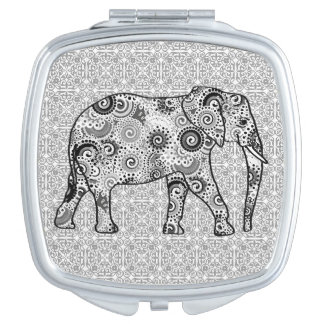 Fractal swirl elephant - grey, black and white mirror for makeup