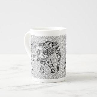 Fractal swirl elephant - grey, black and white tea cup