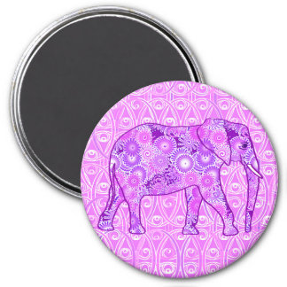 Fractal swirl elephant - purple and orchid 3 inch round magnet