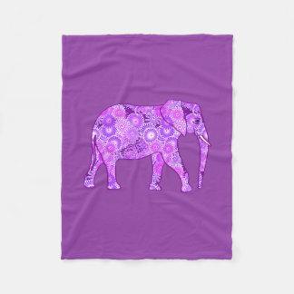 Fractal swirl elephant, purple and orchid fleece blanket