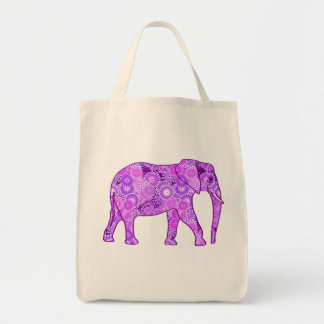 Fractal Swirl Elephant, Purple and Orchid Tote Bag
