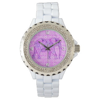 Fractal swirl elephant - purple and orchid watch