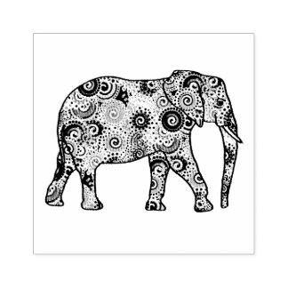 Fractal swirl embellished elephant rubber stamp
