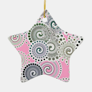 Fractal swirl pattern, pink and grey christmas ornament