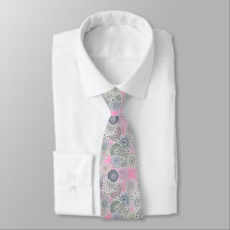 Fractal swirl pattern, pink and grey tie