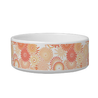Fractal swirl pattern, shades of coral and peach cat food bowl