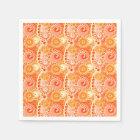 Fractal swirl pattern, shades of coral orange napkin