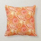 Fractal swirl pattern, shades of coral orange throw pillow