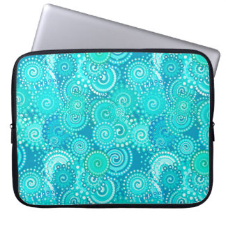 Fractal swirl pattern, shades of ocean blue laptop sleeve