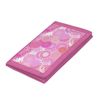 Fractal swirl pattern, shades of pink tri-fold wallets