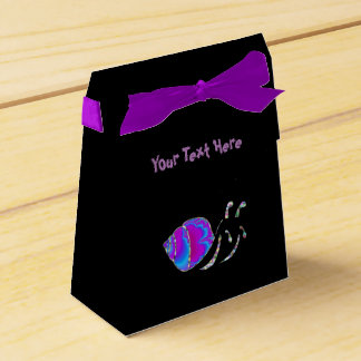 Fractal Teal and Purple Snail Shell Party Favor Boxes