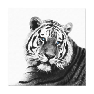Fractal Tiger in Black and White Canvas Print
