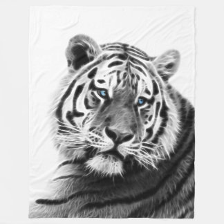 Fractal Tiger in Black and White Fleece Blanket