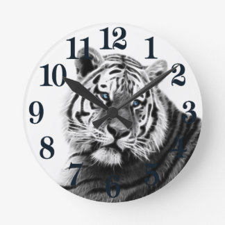 Fractal Tiger in Black and White Round Clock