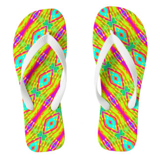 Fractal Tile Color Pop Flip Flops