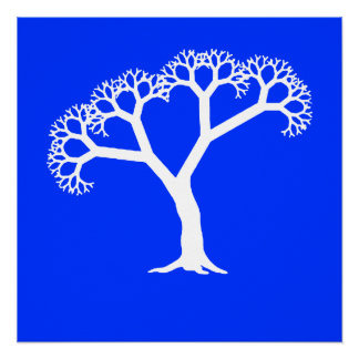 Fractal Tree White Poster